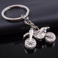 Motocross Bike Motorbike Motorcycle Silver Metal Keyring Key Chain Novelty Gift