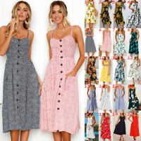UK Womens Floral Holiday Beach Ladies Cami Sun Strappy Floral Summer Midi Dress