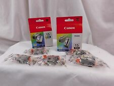 Lot of 9 New Sealed Box Genuine OEM Canon BCI-15 Black & BCI-15 Color Ink