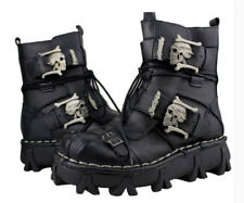 Mens Genuine Leather Skull Combat Ankle Boots Military Lace Up Casual Shoes