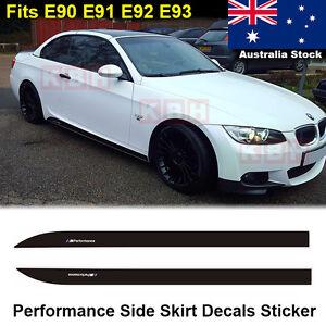 2pcs M Performance Side Skirt Decals Vinyl Sticker BMW 3 Series E90 E91 E92 E93