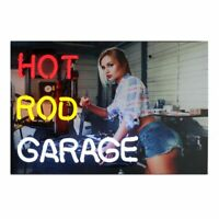 Red Hot Sexy Pin up blonde Hot Rod Garage Neon sign wall lamp light Mancave