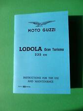 Moto Guzzi Lodola 235cc Gran Turismo, englisches Handbuch   2. Edit. 1960