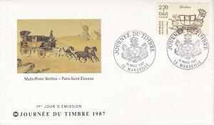Enveloppe maximum 1er jour FDC 1987 - Journée du Timbre Berline Marseille Jaune