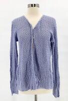EILEEN FISHER Womens Lilac Purple 100% Linen Open Knit Cardigan Sweater Sz XS