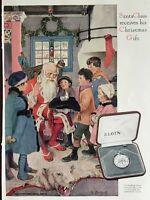Vintage Color 1926 ELGIN Watch Santa Claus Christmas Gift  Advertising Print Ad
