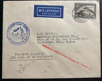 1929 Germany Graf Zeppelin LZ127 World Flight Airmail FFC Cover to Cleveland USA