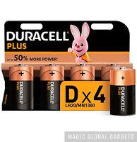 4 X DURACELL D SIZE PLUS POWER ALKALINE BATTERIES LR20 MN1300 - EXPIRY 2029