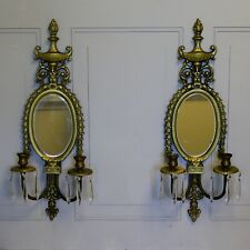 Set of Antique Gilded Bronze Candle Sconce, Mirror, Girandoles