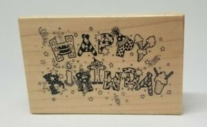 PSX Happy Birthday wood mount rubber stamp G-020 party greeting words