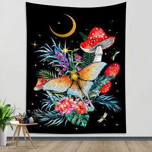 Psychedelic Mushroom Tapestry Boho Butterfly Flower Wall Hanging Bedspread Cover