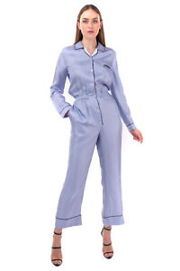 RRP €1955 PRADA Silk Satin Jumpsuit Size 40 / S Long Sleeve Made in Italy