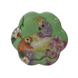 Apple Green Flower Bird Graphic Flower Shape Porcelain Box Container ws1558