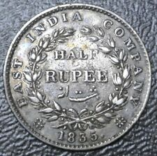1835 INDIA-BRITISH - HALF RUPEE - .917 SILVER - William IV - Nice Coin