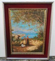 Oscar Ricciardi (Napoli,1864-1935) Veduta di Napoli olio su faesite 41 x 55 cm