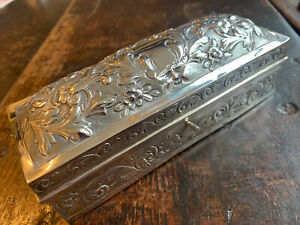 Large Repousse Silver Box Lon 1897 Fitted Silver Handle Curling Tongs & Burner