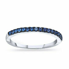 Blue Sapphire Wedding Band Ring Round Cut 14k Solid White Gold