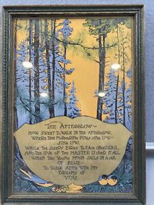 """VINTAGE Framed Motto PRINT  """"THE AFTERGLOW"""""""