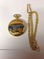 Peugeot 204 Cabrio ref178 pewter effect car on a Gold Quartz Pocket Watch