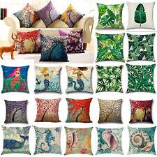 Floral Ocean Cotton Linen Pillow Cover Waist Throw Cushion Cases Home Sofa Decor