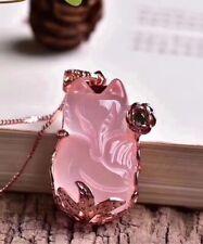 Top Natural Rose Quartz Pink Star Light Crystal Fox Women Pendant 32x20mm AAAA