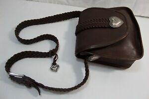 BRIGHTON** BROWN LEATHER BASKET-WEAVE BUCKLE SHOULDER BAG PURSE
