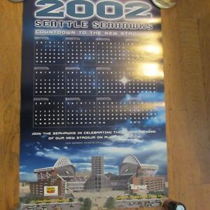 """2002 SEATTLE SEAHAWKS POSTERS-""""COUNTDOWN TO THE NEW STADIUM"""""""