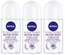 3 Pk Nivea Deodorant Roll-On Beauty Touch Aclarado Natural 48h Protección 50 mL