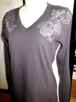 Harley Davidson LS Graphic Pullover V Neck Embellished Studs Rivets Shirt Top M