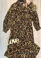 & Other Stories Stockholm Atelier UK10 black midi button up shirt dress silk mix