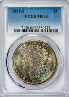 1881-S Morgan PCGS MS64 Colorful Rim-Toned on Both Sides