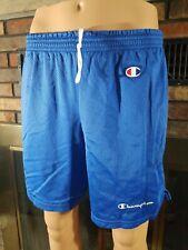 Vintage Champion Spellout Loco C Patch Mesh Blue Gym Shorts Mens Size Large EUC