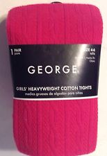 Girls Winter Fashion Tights Deep Pink Ribbed Size 4-6 Footed