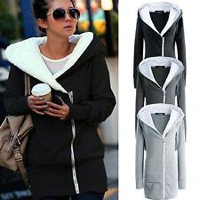 Mujer Extragrande chaqueta abrigo sudaderas polar largo Cremallera Con Capucha