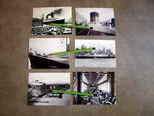 6 PHOTOS LE PAQUEBOT NORMANDIE INCENDIE DANS  PORT DE NEW YORK (reproductions).