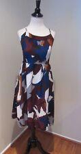 Ann Taylor Loft  Blue, Burgundy, Cream Abstract Dress Size 6 Petite-EUC