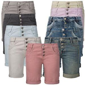 Sublevel Damen Denim Bermuda Chino Stretch Shorts Bequeme Kurze Hose XS-XXL