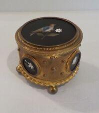 French Grand Tour Dore Bronze Casket Box, PIETRA DURA Panels, c. 1890