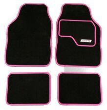 Full Black Carpet Car Floor Mats With Pink Boarder For Peugeot 206 207 308 407