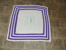 Retro Purple Stripe Granny Knit Blanket