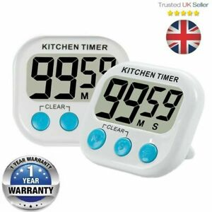 Large LCD Digital Kitchen Cooking Timer Count Down Clock Loud Alarm Stopwatch UK