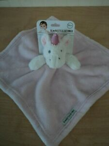 """Blankets & Beyond Pink Unicorn Security Blanket Minky Lovey with Rattle NWT 13"""""""