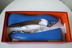 $295 Tory Burch Royal Blue Leather Claire Ballet Flat Shoes Sz 9 Gold Buckle