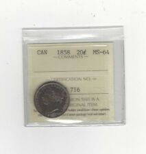 **1858**, ICCS Graded Canadian, 20 Cent, **MS-64**