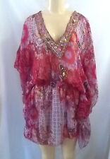 BEACH WEAR DARK PINK FLORAL BEADED NECK COVER UP TOP BLOUSE SHEER S