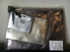 NWT Bloomingdale's 2016 GWP Metallic 3 Piece Cosmetic Beauty Makeup Bag
