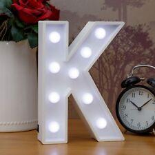 Light Up Letter K - White Marquee Letters 23cm LED Wooden Letter Lights Sign A-Z