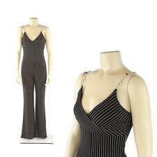 Vintage 90s Black + White Pin Stripe Empire Waist Goth Cyber Slim Jumpsuit S
