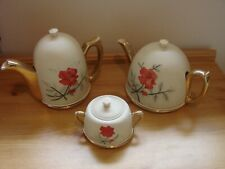 More details for rare vintage 1950s insulated teapot coffee pot sugar bowl set red rose design