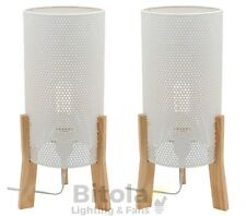 NEW PAIR OF MERCATOR EDDIE BEDSIDE TABLE LAMPS WHITE MESH WITH TIMBER BASE